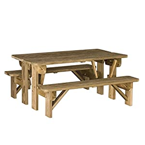 Luxcraft Pressure Treated Wood Bench/Table Combo
