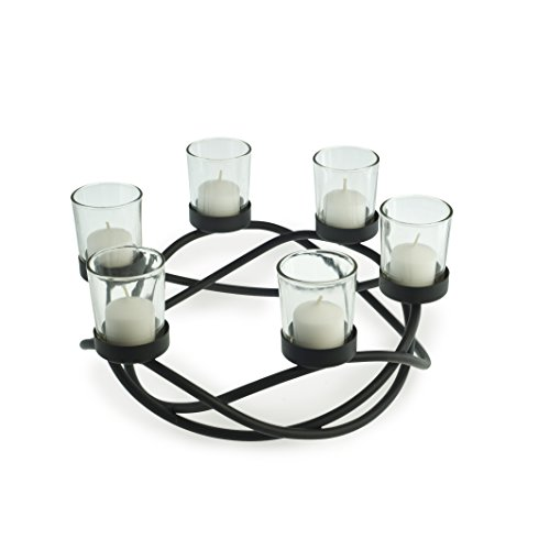 (Danya B KF102 Decorative Indoor/Outdoor Round Waves Metal Wrought Iron Candleholder/Centerpiece)