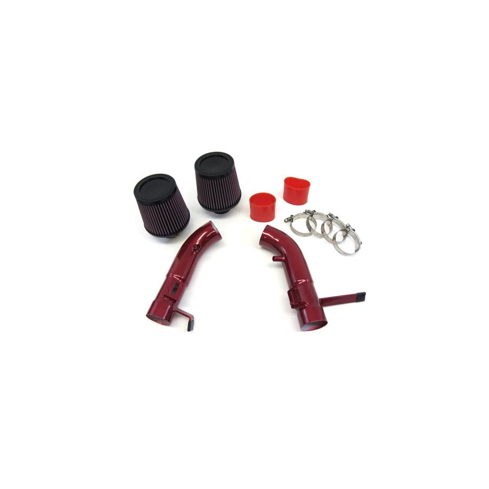 09 10 11 NISSAN 370Z NISMO 3.7L V6 Dual Short Ram Air Intake Red Pipes Kit