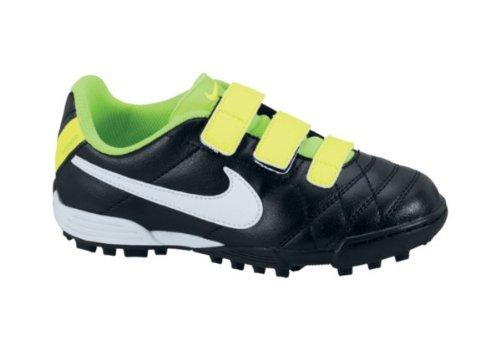 Nike JR TIEMPO V3 TF AF BLACK/WHITE-ELECTRIC GREEN, Größe Nike:12C