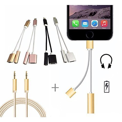 2 in 1 iPhone 7/7Plus Adapter, Premium Lightning Charger & 3.5mm Aux Headphone Jack Audio Adapter.(With FREE 3.3ft Nylon Braided 3.5mm Aux Cable).Charge & Listen Music together, All in one COMBO (1 Headphone Pack)