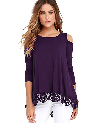 Bosbary Womens Cold Shoulder Tops Long Sleeve Lace Trim Tunic Blouse Purple M