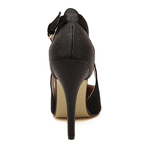Aalardom Damesschoenen Met Hoge Hak, Puntige Teen Solide Pumps-schoenen Met Metalen Gespen Zwart-metalen Gespen