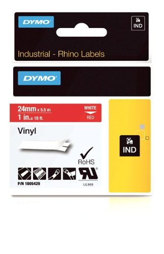 DYMO Rhino Adhesive Vinyl Label Tape, 1-inch, 18-foot Cassette, Red (1805429)