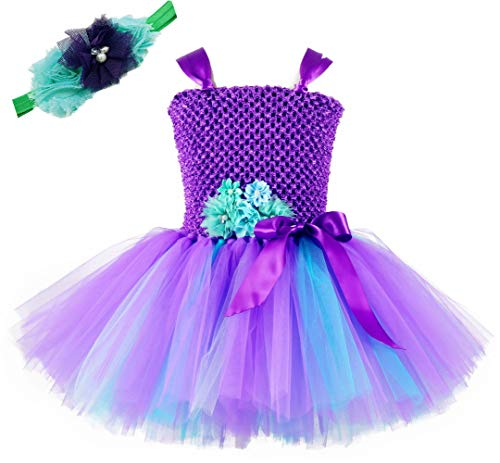Tutu Dreams Girls Mermaid Princess Tutu Dress Costumes Purple Tulle Birthday Outfits (M, Purple-Teal)