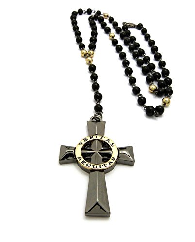 MENS VERITAS AEQUITAS CROSS BOONDOCK SAINTS PENDANT GLASS STONE BEAD ROSARY NECKLACE (Gold Ring)