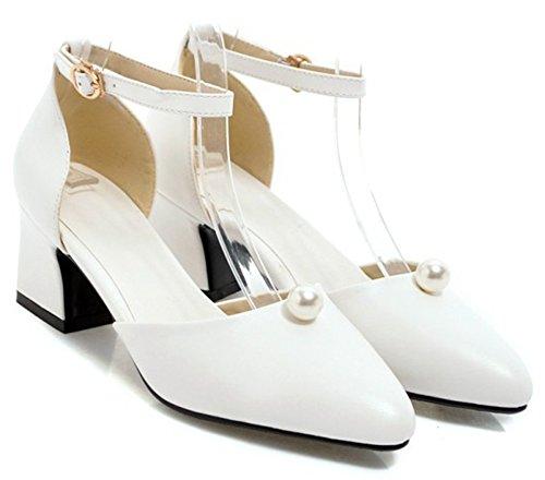 Idifu Donna Elegante Cinturino Alla Caviglia A Punta Tacco Medio Basso Con Tacco Alto Scarpe Da Sposa Bianco