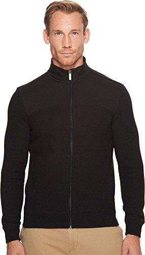 Perry Ellis Men's Cotton Blend Full Zip Texture Knit Jacket, Black-4CHK7101, Extra Large
