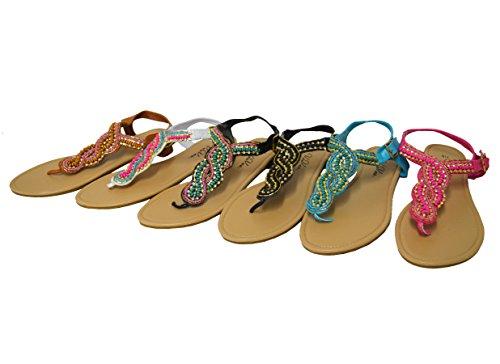 De Gladiator Platte Zomer Sandalen Voor Dames Strappy (gs-sandalen) 6345-zwart / Blauw