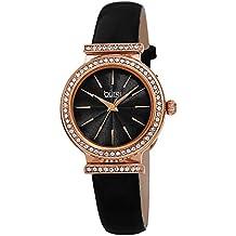Burgi Designer Women's Watch – Genuine Patent Leather Black Strap, Swarovski Crystal Studded Bezel, Fine Guilloche Pattern Dial - BUR230BK