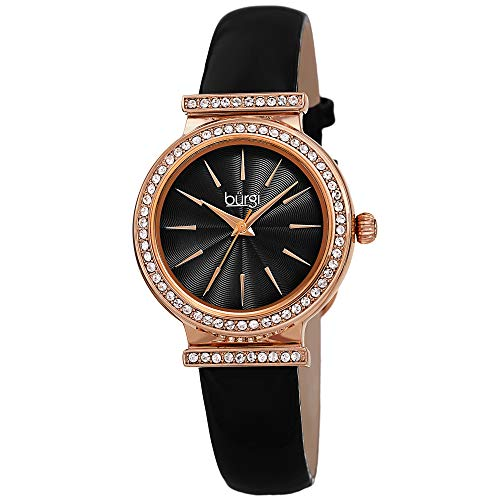 Burgi Swarovski Crystal Studded Bezel Watch - Sparkling Design Fine Guilloche Pattern Dial - Genuine Black Patent Leather Black Strap - BUR230BK
