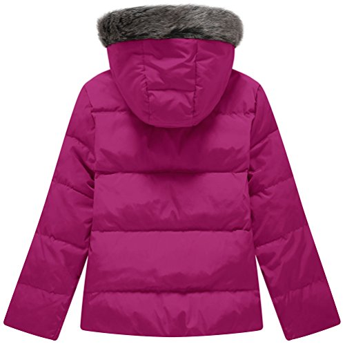 Wantdo Girl's Ultra Light Down Jacket Windproof Hoodies Outwear Short Parka for Camping(Rose Red, 4/5) by Wantdo (Image #2)