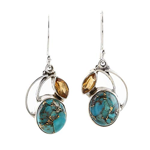 NOVICA Citrine Reconstituted Turquoise .925 Sterling Silver Dangle Earrings 'Modern Mystique'