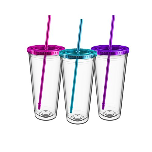 Maars Insulated Travel Tumblers 32 oz. | Double Wall Acrylic | 3 Pack (Tumblers Drinking Insulated)
