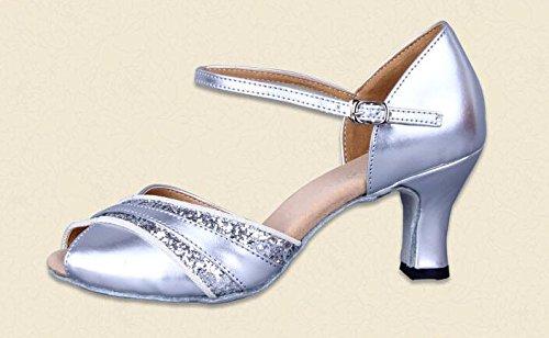 Signore Peep Toe Scintillanti Scarpe Da Ballo Latino Ballo In Pelle Pu Cinturino Alla Caviglia Argento