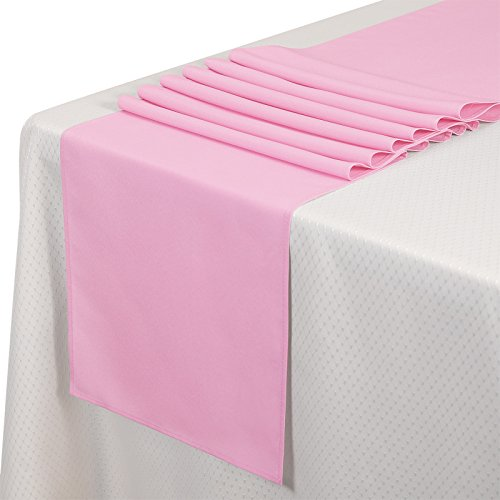 VEEYOO 10 Pieces 14x108 inch Polyester Table Runner for Restaurant Kitchen Dining Wedding Party Banquet Events, Pink by VEEYOO
