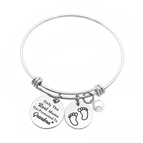 Meibai New Grandma Gift Stainless Steel Message Charm Expandable Bracelet Bangle Gift for Grandmother(Only The Best Moms Get Promoted to Grandma)