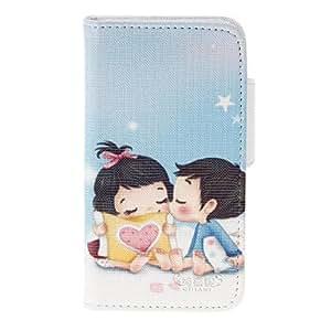 GONGXI-Poco Sweet Lovers PU del patrón de caso completo de cuerpo con el soporte y ranura para tarjeta para iPhone 4/4S