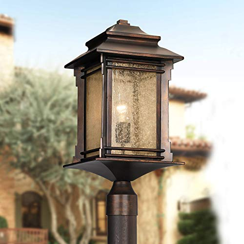 Hickory Point Rustic Outdoor Post Light Walnut Bronze Vintage 21 1/2
