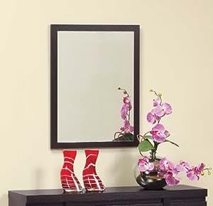 ioHOMES Rectangular Framed Wall Mirror, Dark Espresso