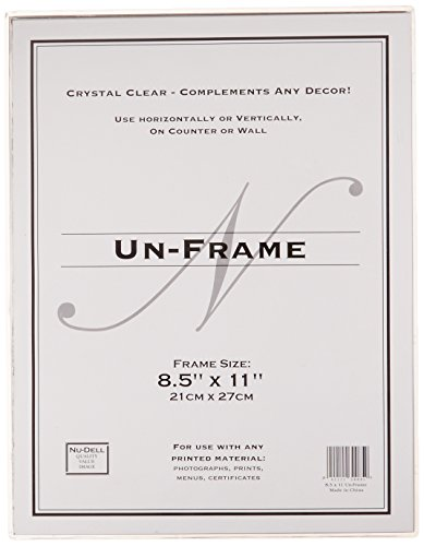Nu-Dell 8.5 x 11 Inches  Box Photo Frame / Sign Holder Un-Frame, Clear