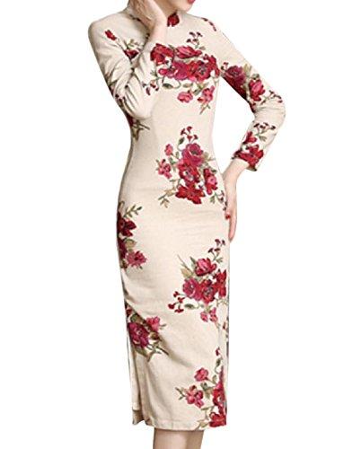 Coolred-femmes Linge Elegent Prime Printemps Floral Robe Cheongsam Mince 10