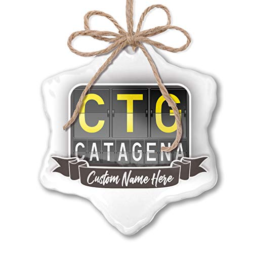 NEONBLOND Create Your Ornament CTG Airport Code for Catagena Personalized