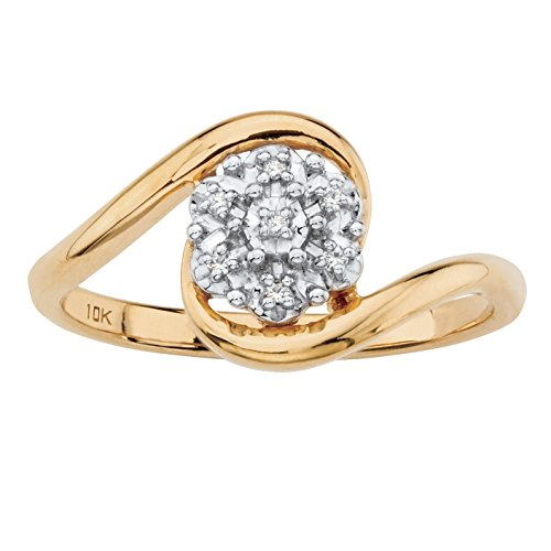 Diamond Accent Bypass Ring - White Diamond Accent Solid 10k Yellow Gold Bypass Cluster Ring