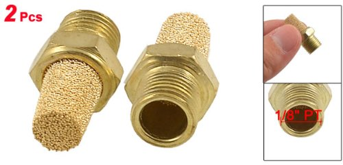uxcell Brass Exhaust Muffler 1//4 inches G Male Thread 19//32 inches Hex Sintered Air Pneumatic Bronze Muffler with Brass Body Protruding 5pcs