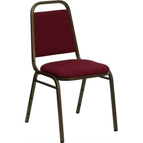 Flash Furniture FD-BHF-2-BY-GG Hercules Series Trapezoidal Back Stacking Banquet Chair with Burgundy Fabric Gold/Vein Frame (Series Stacking Chair Burgundy Fabric)