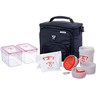 Fitmark Box Midnight Meal Prep Insulated Bag with BPA Free Portion Control Meal Containers, Reusable Ice Packs