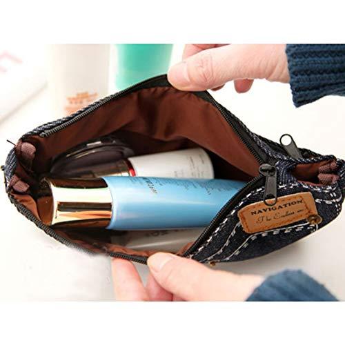 Jeans bolsa la de bolsa Isuper ordenadores pluma bolsa maquillaje azul de caja de de monedero cosméticos lienzo los las de patrón muchachas oscuro moda lápiz Belleza lápiz 2 de de FvnxHwvqp5