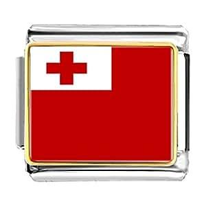 Chicforest Gold Plated Tonga flag Bracelet Link Photo Italian Charm