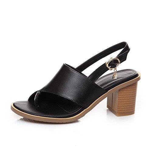 AalarDom Mujeres Tacón ancho Material Suave Sólido Hebilla Puntera Dividida Sandalia Negro