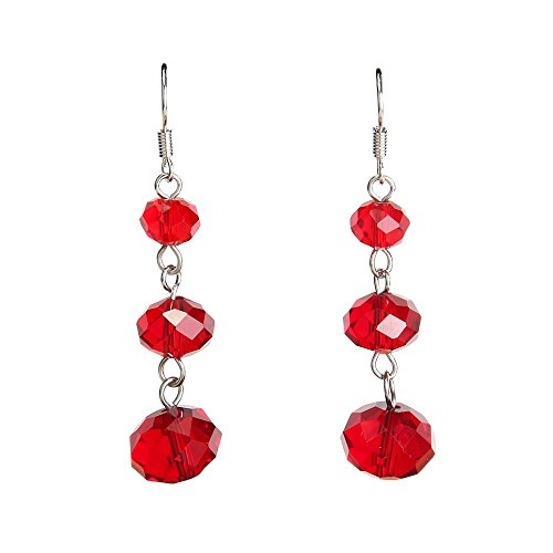 Platinum-Plated Hook Crystal Dangle Earrings Cubic Zirconia Heart Drop Earrings CZ Twist Earring for Women Girl (Red crystal earring) ()