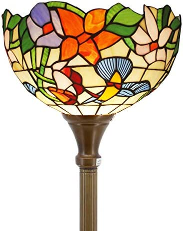 Tiffany Style Torchieres Floor Lamp Table Desk Standing Lighting Wide 12 Tall 66 Inch Green Blue Floral Stained Glass Lampshade for Living Room Bedroom Antique S802 WERFACTORY