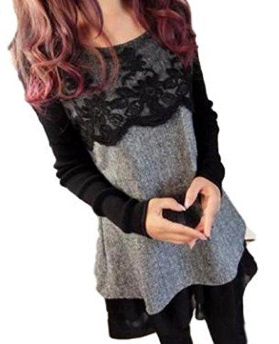 KIRITOA(キリトア) ツイード風 ワンピース 異素材 MIX 重ね着風 胸元 花柄 レース 裾 フリル