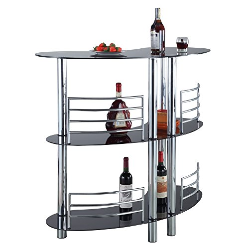 Contemporary Curved Glass - Homegear Contemporary Curved Bar Table