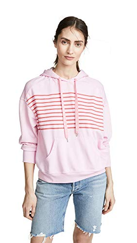 (SUNDRY Women's Vintage Hoodie, Bubble Gum, Pink, Stripe, 1)