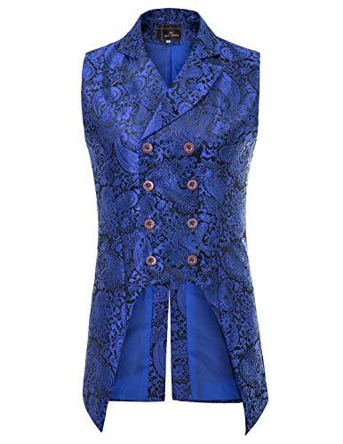 PJ PAUL JONES Mens Gothic Steampunk Vest Waistcoat Velvet Jacquard Tailcoat M Blue ()