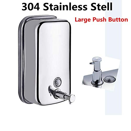 1000ML -36oZ Soap Dispenser, Classic Series Surface-Mounted Stainless Steel Manual Wall-Mount Soap Dispenser for Bathroom Kitchen Marketplace Hotel Restauran