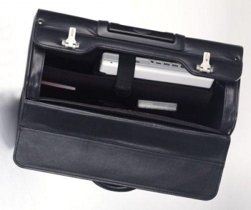 Dermata Leder Pilotenkoffer auf Rollen Modell 01 nappa / schwarz