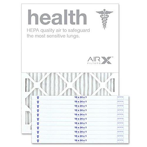 AirXフィルタ健康18x 24x 1エアフィルタMERV 13AC炉プリーツエアフィルタ交換用ボックスof 12, Made in the USA