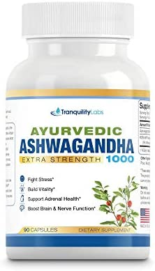 Ayurvedic Ashwagandha 1000 – Raw Ashwagandha Root KSM-66 standardized Extract – All Natural, Extra Strength, 90 Veg caps, Anxiety Menopause Relief, Boosts Brain Thyroid Function, and More.