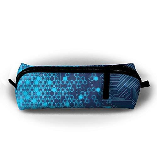 Kui Ju Pencil Bag Pen Case Circuit Pattern Cosmetic Pouch Students Stationery Bag Zipper Organizer]()