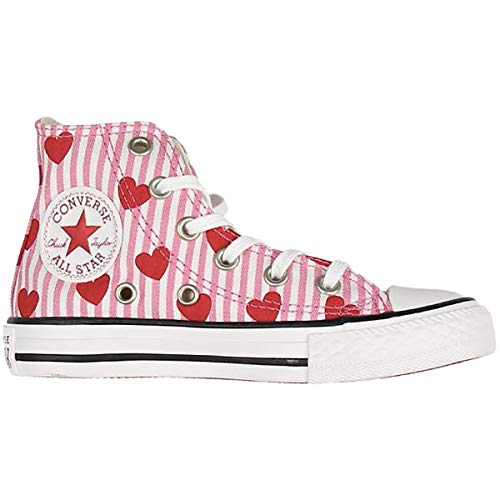 Converse Youth CTAS Hearts and Stripes Hi Canvas Pink Red White Trainers 6 US