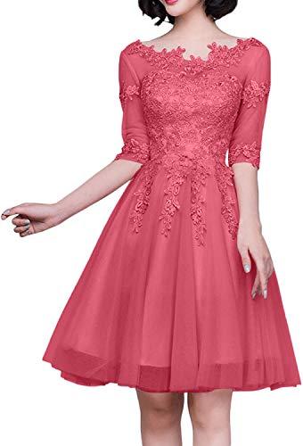 Kurz Abendkleider Wassermelon Festlichkleider Charmant Langarm Ballkleider Damen Cocktailkleider Knielang Partykleider qTFR8