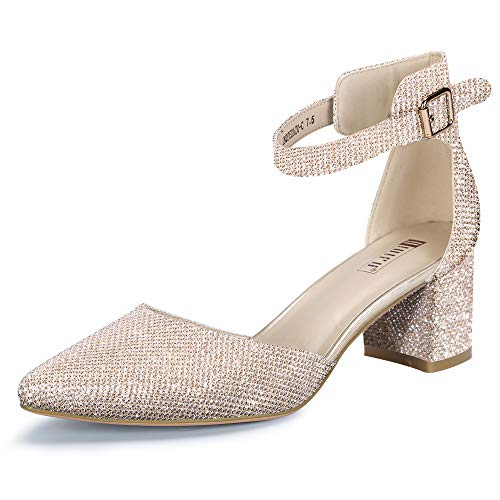 IDIFU Women's IN2 Pedazo-C Mid Chunky Heels Ankle Strap D'Orsay Pumps (Gold Glitter, 9.5 B(M) US)
