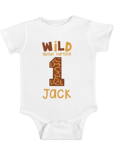 (Blu Magnolia Co Baby Boys' Giraffe Print 1st Birthday Outfit or Shirt | Personalized with Any Name (White, 12 Month)