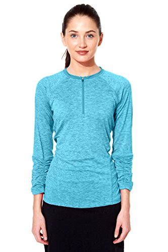Snoga Modest Workout Wear Zip Neck 3/4 Sleeve Long Sleeve Tee -...